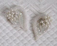 Vintage WHITE BEADED Shoe clips 1960s by vintagous on Etsy, $28.00