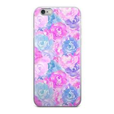 Watercolor Floral Pink & Blue Flowers iPhone Case