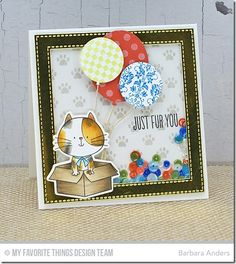 I Knead You, I Knead You Die-namics, Paw Print Background, Balloon STAX Die-namics, Stitched Square Frames Die-namics - Barbara Anders  #mftstamps