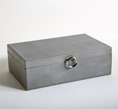 Interlude Nori Lizard Box. Perfect for jewelry and other treasures, this leather box features a silver lizard pattern and polished nickel metal detail to make for a sophisticated accessory. – Modish Store