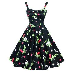 0055671a205 Black Cherry Print Retro Vintage Swing Sleeveless Party Dress 50s Dresses