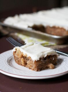 Apple Cinnamon Sheet Cake. A simple, no-fuss dessert that is seriously addictive. Easy to transport to all those fall dinner parties.