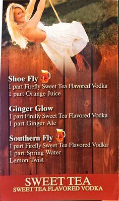 Firefly Sweet Tea Vodka  Shoe Fly Ginger Glow Southern Fly