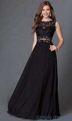Shop floor length black lace mock two piece gowns at SimplyDresses. Beaded sleeveless sweetheart lace bodice long dresses perfect for formals.
