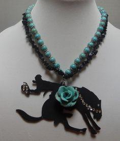 Gypsy Cowgirl Chic Black Onyx Turquoise Bronco Western Statement Necklace OOAK #GypsyCowgirlChic #Statement