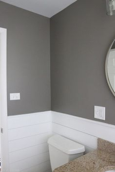 """This bathroom is painted in Behr's """"Creek Bend"""" and I absolutely love this moody gray. Such a great color in this small space. Maybe bathroom upstairs or laundry? Grey Bathroom Paint, Bathroom Small, Gray And White Bathroom Ideas, Bright Bathrooms, Small Bathroom Paint Colors, Bathroom Colours, Natural Bathroom, Bathroom Layout, Basement Bathroom"""