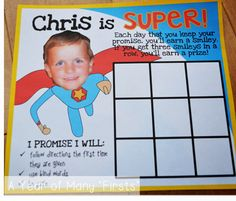 I'm using this board in lieu of a traditional behavior chart, but I'm sure you could use both if you wanted. When I presented this behavior board to one of my students, he was THRILLED to see his actual picture. So motivating! Behavior Board, Student Behavior, Kids Behavior, Superhero Classroom, School Classroom, Classroom Themes, Superhero Behavior Chart, Future Classroom, Behaviour Management