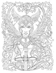 Warrior Angel Coloring page Adult Christian Color by ChubbyMermaid