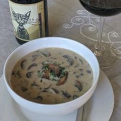 Chef John's Creamy Mushroom Soup Recipe - Allrecipes.com Creamy Mushroom Soup, Mushroom Soup Recipes, Creamy Mushrooms, Stuffed Mushrooms, Stuffed Peppers, Kitchen Twine, How To Cook Mushrooms, Soups And Stews