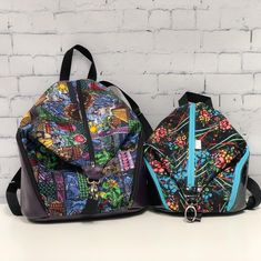 Here is the size comparison for the Denver backpacks. Large on the left and mini on the right. Both are wearable by adults and kids since the straps are adjustable.  Large Beauty is available for $75.  The mini Light Sabers is available for $60 as it has a minor flaw that is not really visible and does not effect the function. These prices do not include shipping. #fandbags #beautyandthebeast #beauty #lightsabers #starwars #geeky #nerdy #geek #nerd #backpack #handmade #swoon…
