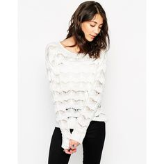 Vero Moda Long Sleeve Zig Zag Sweater (46 AUD) ❤ liked on Polyvore featuring tops, sweaters, snow white, white sweater, long sleeve tops, chunky knit sweater, vero moda en white tops