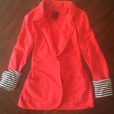 Red blazer with stripped cuffs Soft red blazer with roll up black and white stripped cuffs Material Girl Jackets & Coats Blazers