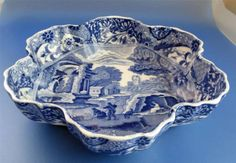 Spode Blue Italian Pattern Fluted Bowl Vintage