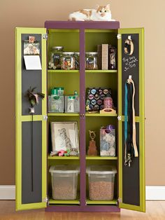 ♥ Cool DIY Pet Ideas ♥ Create a DIY Pet Armoire or Cabinet  This idea is great for small spaces or if you're short on space. Re-purpose an old armoire, cabinet or entertainment unit by treating it to some colorful new paint! I love the idea of using chalkboard paint on the inside of the doors to help stay organized!