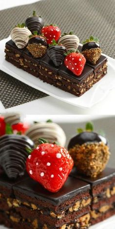 Dark chocolate brownies topped with glazed, decorated chocolate strawberries...golly.