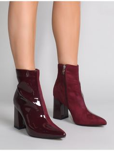 8e3ad0ff22e Chaos Contrast Pointed Toe Ankle Boots in Burgundy Patent and Faux Suede