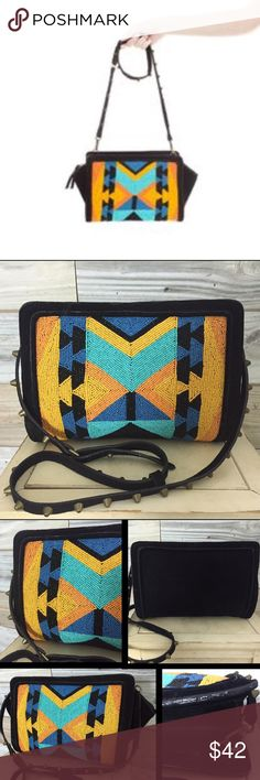 {Zara} Suede & Beaded Tribal Crossbody This is such a gorgeous little number! Punch up the style on any LBD by slinging this baby over your shoulder & adding some killer heels....black suede w/ optional fold-out sides, & an amazing colorful tribal pattern on the front side completely in seed beads! No missing beads (bag also comes with a little baggy of extra beads in case you lose any while wearing it)...as if the beadwork weren't enough, this beauty features edgy bronze studs along entire…