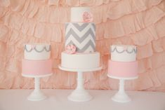 gray and pink chevron and heart cakes. perfect for a little girl baby shower... I would prefer lavender over the pink but it is so cute! @Jennifer Milsaps L Milsaps L Blair....I wanna have a girl just so Amanda can make these cakes! :)