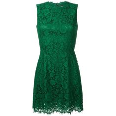 Dolce & Gabbana Sleeveless Lace Dress (2 326 AUD) ❤ liked on Polyvore featuring dresses, green, lace mini dress, scalloped lace dress, short floral dresses, green dress and lace dress