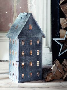 zinc house lantern candle holder | collectibles + home decor #luminaries