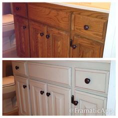 Before and after of my bathroom using Annie Sloan Chalk Paint. These  cabinets were the