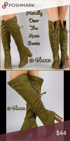 HOST PICK 💕Over the knee boots olive On a BUDGET but have a SHOE ADDICTION? Let me, @4luxe, help you out! I'm your guide to staying trendy on budget!  Take your boot collection to another level when you add these Over-The-Knee babies!  Closed almond toe silhouette Stacked chunky heel for comfort Illusion lace up back of the boot Slit back of knee for great fit Cushioned insole Smooth lining Partial inner side zipper Easy on/off design Vegan Suede Heel Height: 3 inch approx Opening circum…