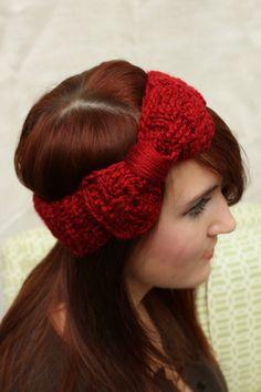 dark red basket weave crochet headband with bow