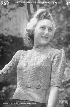 ladies sweater top patons 968 free vintage knitting patterns vintage knitting pattern archive the appeal of vintage knitting patterns Vintage Knitting, Lace Knitting, Baby Knitting Patterns, Vintage Crochet, Vogue Knitting, Knitting Tutorials, Summer Knitting, Hat Patterns, Stitch Patterns