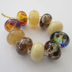 Neutral Mix - perfect for a bracelet or necklace - handmade glass beads from my North Somerset studio and available for sale - enquiries welcome