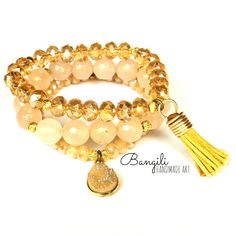 Crystal Charm Golden Bracelet Trio