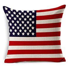 Vintage Stripe American USA Flag - Square Burlap Light Linen Design Throw Pillow Case Shell Cushion Covers 18 x 18 Inch Home Decor - for Living Room, Car Seat, Study Linen Pillows, Decorative Throw Pillows, Cushion Covers, Pillow Covers, Geometric Cushions, Pillowcase Pattern, Flag Decor, Throw Pillow Cases, Cotton Linen