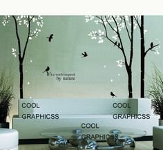 3 Birch Trees set  - 102 inches - Vinyl Wall Decal Sticker Art, Mural,Wall Hanging. $76.00, via Etsy.
