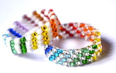 Beaded White And Rainbow Ring Pattern | Bead-Patterns.com