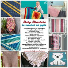 Crochet these Baby Blankets as Gifts this Year - 10 Free Patterns for Baby Blankets. Collection created by Oombawka Design. Free Baby Blanket Patterns, Afghan Crochet Patterns, Baby Blanket Crochet, Crochet Baby, Free Crochet, Crochet Blankets, Crocheted Afghans, Baby Afghans, Crochet Round