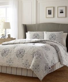 Loving this Gray Valencia Comforter Set on #zulily! #zulilyfinds