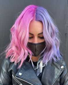 Hair Dye Colors, Ombre Hair Color, Cool Hair Color, Half Colored Hair, Half And Half Hair, Pink Purple Hair, Peekaboo Hair, Split Dyed Hair, Bright Hair