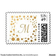Trendy Confetti Gold Dots Monogrammed Postage