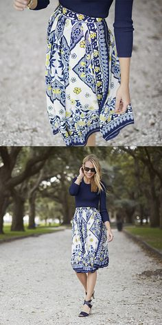 Add a bohemian touch to your look with our flowy knee length blue, white, and yellow print skirt. This stunning print is perfect for office, as well as, a night on the town with friends   Banana Republic