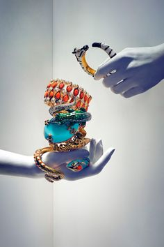 Anna Dello Russo for H M. I want that bracelet on the top of the pile...