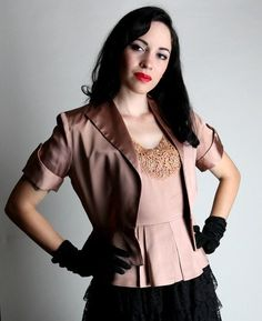 1940's Vintage Hollywood Glamour Women's Mauve Dressy Peplum Blouse and Matching Jacket by BuffaloGalVintage on Etsy