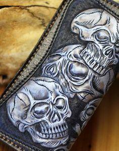 Items similar to Harley skulls Handmade Personalized Men's Leather Wallet Vegetable classics carving wallet purse card case Christmas Valentine's Day Gift on Etsy Biker Leather, Leather Art, Leather Chain, Leather Tooling, Leather Jewelry, Tooled Leather, Black Leather, Vegetable Leather, Black Wallet