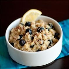 Sweet blueberries and tart lemon pair well in this quinoa alternative to oatmeal for a warm breakfast cereal.