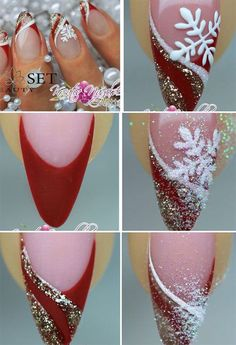 Christmas nails tutorial christmas nail art xmas nail art, c Xmas Nails, Winter Nail Art, Christmas Nail Art, Holiday Nails, Winter Nails, Simple Christmas, Christmas Fashion, Trendy Nails, Cute Nails