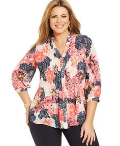 Charter Club Plus Size Floral-Print Pintucked Blouse Blouses For Women, Ladies Blouses, Diva Fashion, Womens Fashion, Floral Tops, Floral Prints, Blouse Online, Business Casual, Plus Size Fashion
