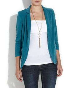 £24.99 Turquoise Teal Ruched 3/4 Sleeve Blazer.  Great price and colour if your wearing a more subtle colour and need to add some life to the look!