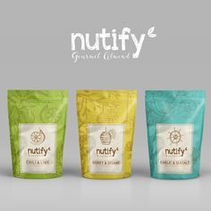 Nutify - Gourmet Almond on Packaging of the World - Creative Package Design Gallery Biscuits Packaging, Pouch Packaging, Fruit Packaging, Cool Packaging, Food Packaging Design, Plastic Packaging, Packaging Design Inspiration, Brand Packaging, Branding Design
