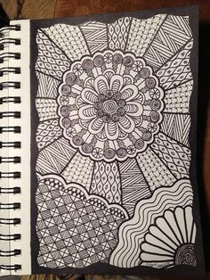 Original Doodle by PLHill -- Zentangle Easy Doodle Art, Doodle Art Designs, Doodle Art Drawing, Zentangle Drawings, Doodles Zentangles, Doodle Patterns, Mandala Drawing, Zentangle Patterns, Art Drawings
