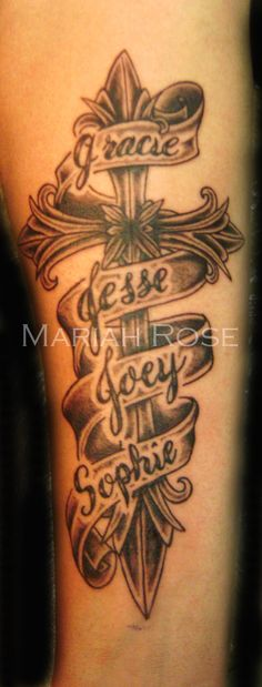 http://tattoomagz.com/cross-tattoos-with-names/cross-with-names-in-banner-cross-tattoos/