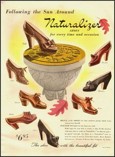 Naturalizer Shoes for every time and occasion (1942). #vintage #shoes #fashion #1940s #ads