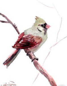 Female cardinal bird original watercolor painting by ORIGINALONLY